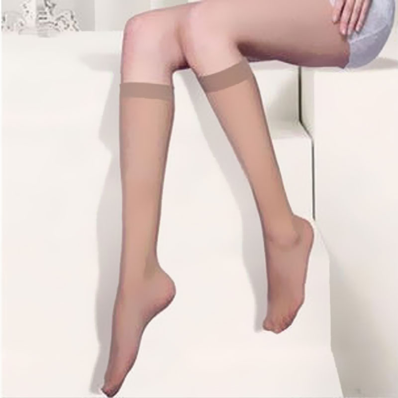 1 Pair Women's Summer Breathable Thin Knee-High In Tube Socks Transparent Solid Color Mid Calf Silk Socks Ladies Mesh Sox