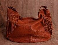 Бесплатная доставка Большой винтажный из натуральной кожи сумка с кисточками овчина большая сумка женская сумка ведро Размер 61*40*17 см
