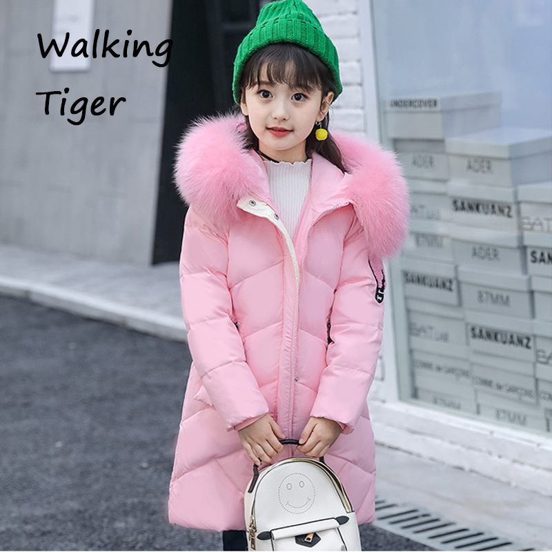Girls winter clothing coat children pink Down jacket tops 2017 new Keep warm Parkas Outerwear girls clothing down
