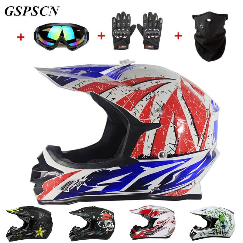 Купить получить три подарки мотоцикл Для мужчин Мотокросс Off Road матч шлем защитные шлемы ATV Байк горные MTB DH capacete