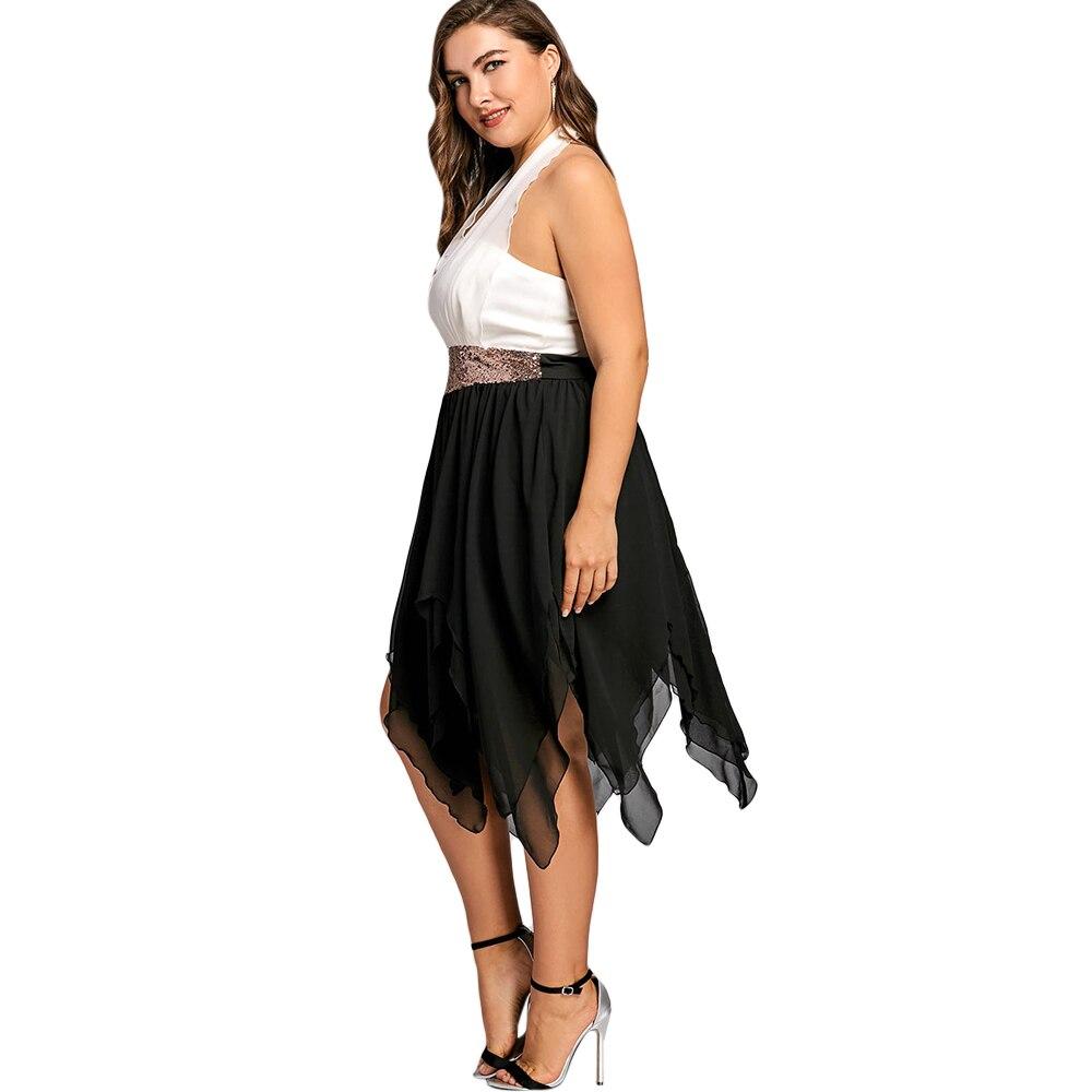 Gamiss Plus Size Sequins High Waist Handkerchief Dress Vestido Women
