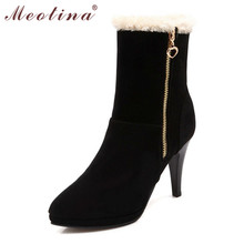 Meotina Winter Shoes Women Boots Pointed Toe Flock Mid Calf Boots Female Zipper Thin High Heels Snow Fur Shoes Size Gray 34-39