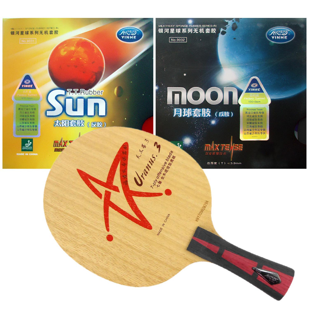 Pro Table Tennis Combo Paddle Racket Yinhe Uranus.3 + Sun Factory Tuned and Moon Factory Tuned Shakehand Long Handle FL pro table tennis pingpong combo racket galaxy yinhe mercury 13 with sun and moon factory tuned