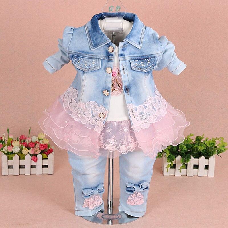 854152361 Bebé Ropa Sets 2018 marca moda Encaje floral Denim chaqueta + Camiseta + Vaqueros  niños 3 unids traje conjunto niño Bebé Ropa