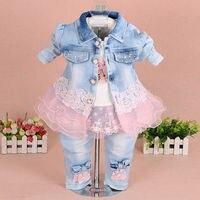 Baby Girl Clothes Sets 2016 New Fashion Lace Floral Denim Jacket T Shirt Jeans Kids 3pcs