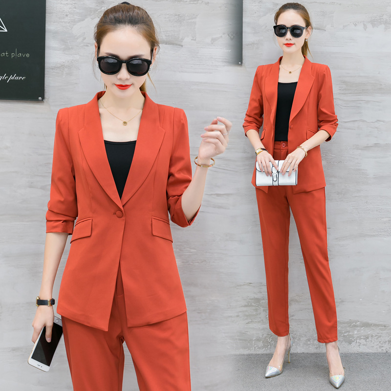 Set Female Slim Suit Feet Pants Two Sets 2019 Spring New Slim Temperament Fashion Solid Color Wild Casual Women's Clothes