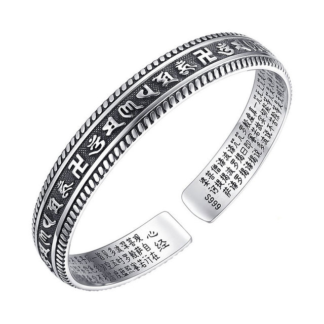 Robira Vintage Bangle 999 sterling silver jewelry wholesale Opening Sanskrit Mantra Silver Bracelet Ladies Silver Bangles