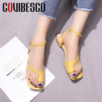 COVIBESCO Fashion Concise Square Toe Buckle Women Sandals Pumps 2019 Summer New Genuine Leather Office Lady Shallow Shoes Woman