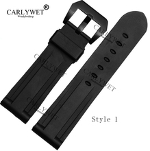 CARLYWET 24mm Wholesale Newest Black Waterproof Rubber Replacement Wrist Watch Band Strap with Screw Buckle for 44mm-47mm