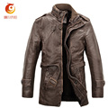 Mens Black Long PU Leather Jacket Stand Collar Zipper Motorcycle Leather Jacket Men Thick PU Leather Coat Chaqueta Moto Cuero