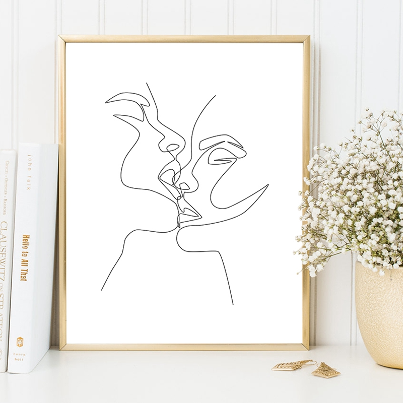 Couple Kiss Print Living Room Decoration
