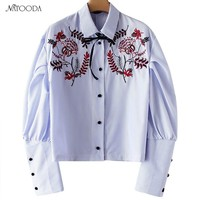 Natooda 2018 Women Embroidery Stripped Lace Up Buttons Long Sleeve Shirts Female Elegant Tops And Blouses