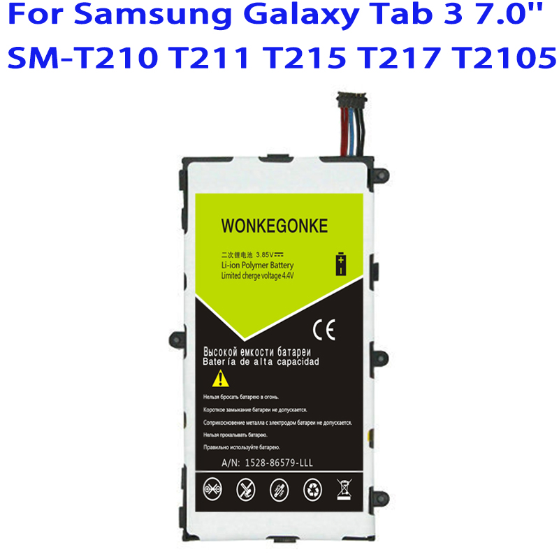 WONKEGONKE <font><b>T4000E</b></font> Battery For Samsung Galaxy Tab Tablet 3 7.0 T210 T211 T215 T217A T2105 T210R P3200 P3210 Batteries image