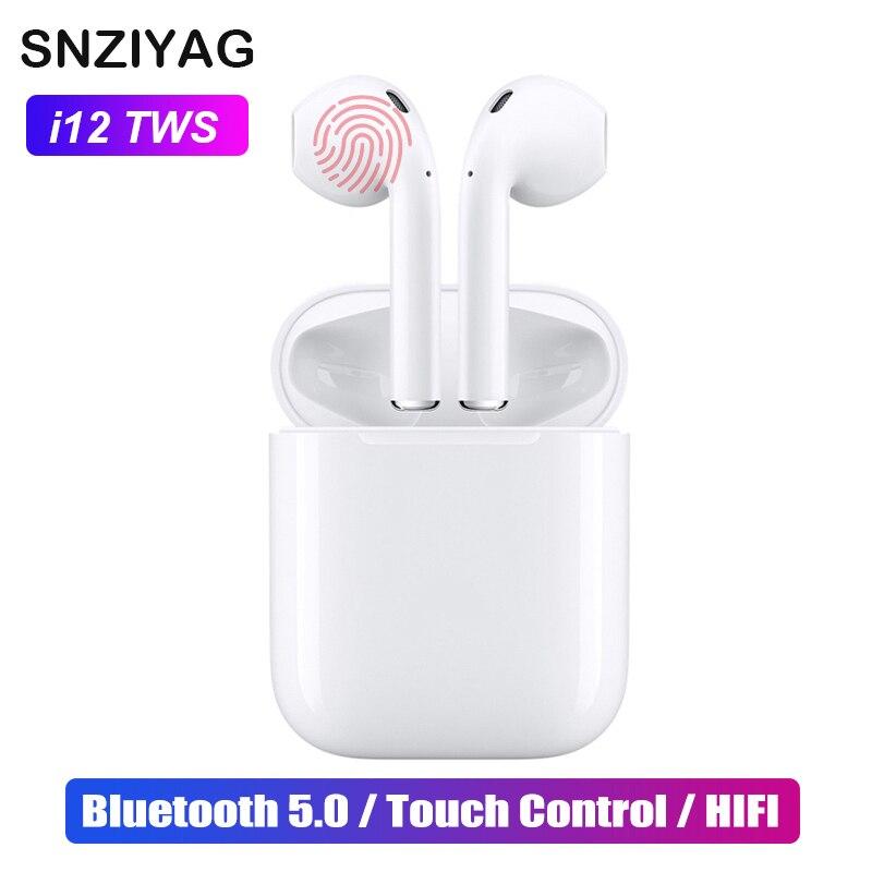 SNZIYAG i12 TWS Mini Air pod Bluetooth 5.0 Auricolare di Sport Sweatproof Vero Auricolari Senza Fili di Tocco Ear pod Binaurale Auricolari chiamata