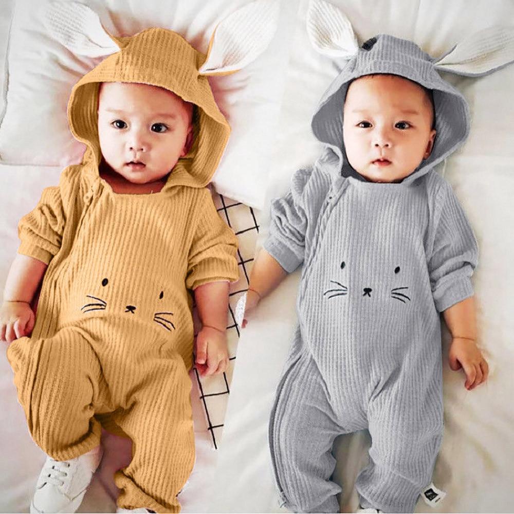 Newborn Infant Baby Girls Boys Hooded Romper Jumpsuit Bodysuit Playsuit Clothes