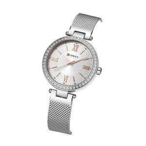Image 2 - Fashion Brand CURREN Crystal Design Quartz Ladies Wristwatches Stainless Steel Mesh Band Casual Women Watch Ladies Watches Gift