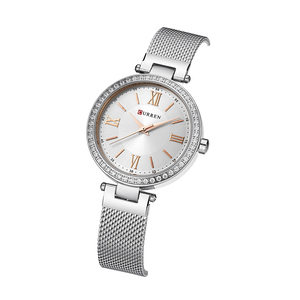 Image 2 - Mode Marke CURREN Kristall Design Quarz Damen Armbanduhren Edelstahl Mesh Band Casual Frauen Uhr Damen Uhren Geschenk