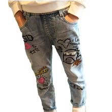 Children Boys Pants Baby Girl Jeans Jumpsuits Fashion Spring Autumn Jeans Girls Kids Clothes NZK0017