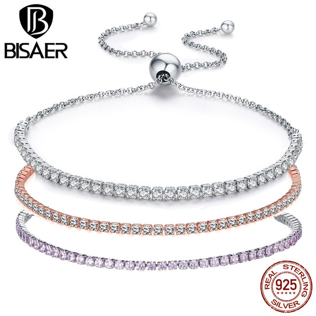 925 Sterling Silver Sparkling Tennis Bracelet Chain Strand Bracelets for Women L