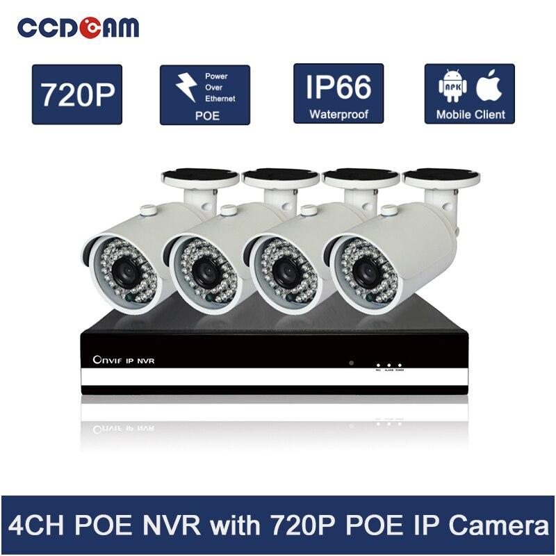 CCDCAM Горячая продажа! Onvif 4ch poe nvr комплект 720P poe ip камера наружная система безопасности