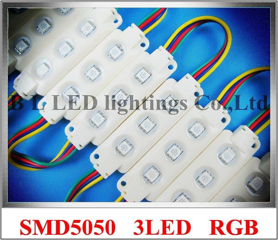 Инъекций RGB светодиодный модуль SMD 5050 водонепроницаемый DC12V 0.72 Вт 3LED используется для освещения коробки PMMA знак буквы блистерной слова и дру...