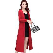 Brieuces  New Women Long Sweater Cardigan Jacket Spring and Autumn Knee Wind Thin Slim Knitted