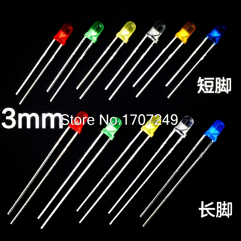 1000 Pcs 3MM LED 6 Colors Long/short Foot Optional White Red Green Blue Yellow Orange 3mm 20mA Diffused Light-Emitting Diode LED