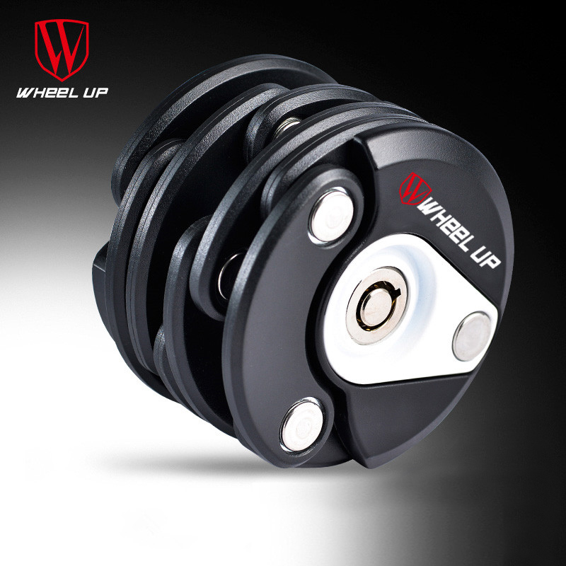 WHEEL UP Anti-Theft Bike Lock Foldable Cycle Hamburger Security Steel Folding Chain Lock Road mtb Cycling Bicycle Accessories