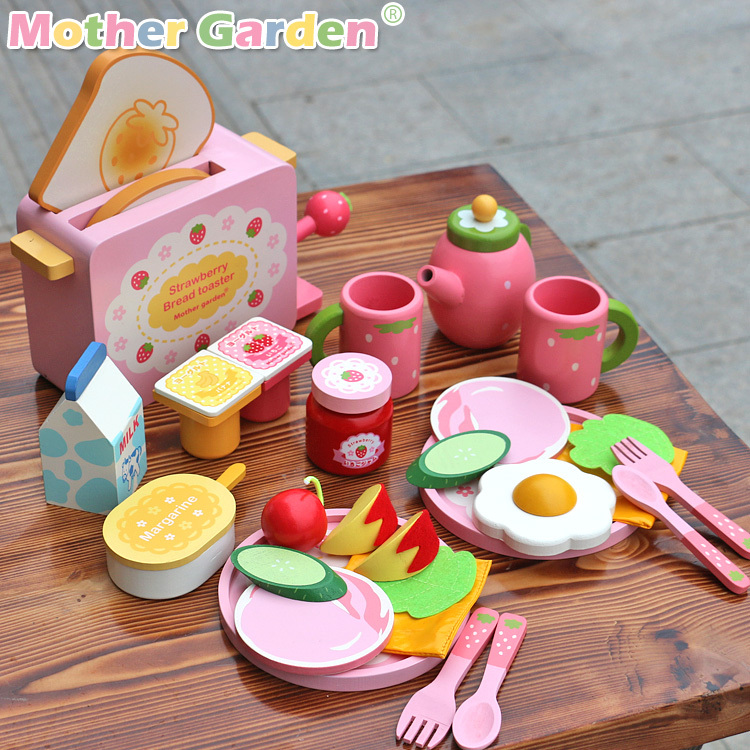 Baby Toys Mother Garden Strawberry Toast Bread Machine Kitchen Food Western Breakfast Wooden Toys kids Educational Birthday Gift mother garden high quality wood toy wind story green tea wooden kitchen toys set