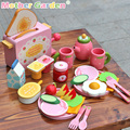 Baby Toys Mother Garden Strawberry Toast Bread Machine Kitchen Food Western Breakfast Wooden Toys kids Educational Birthday Gift