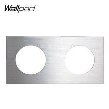 L6 DIY двойная серебристая Панель Матовый алюминий для настенного выключателя розетка Великобритания ЕС Универсальная металлическая пластина комбинация, 172*86 мм