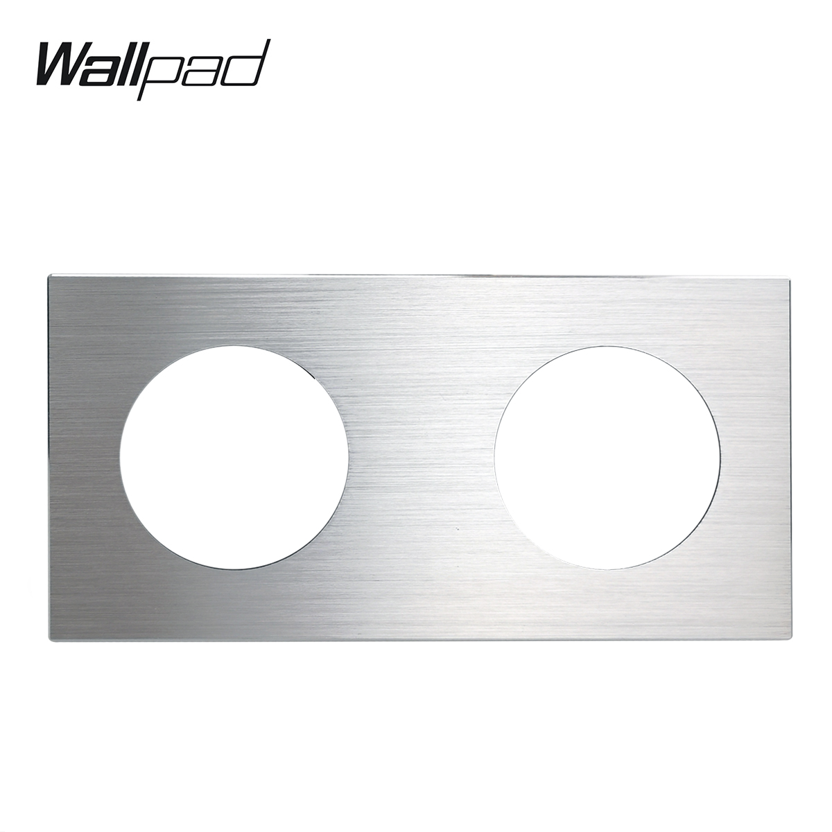 L6 DIY Double Silver Panel Brushed Aluminum For Wall Switch Socket UK EU Universal Metal Plate Free Combination, 172*86mm