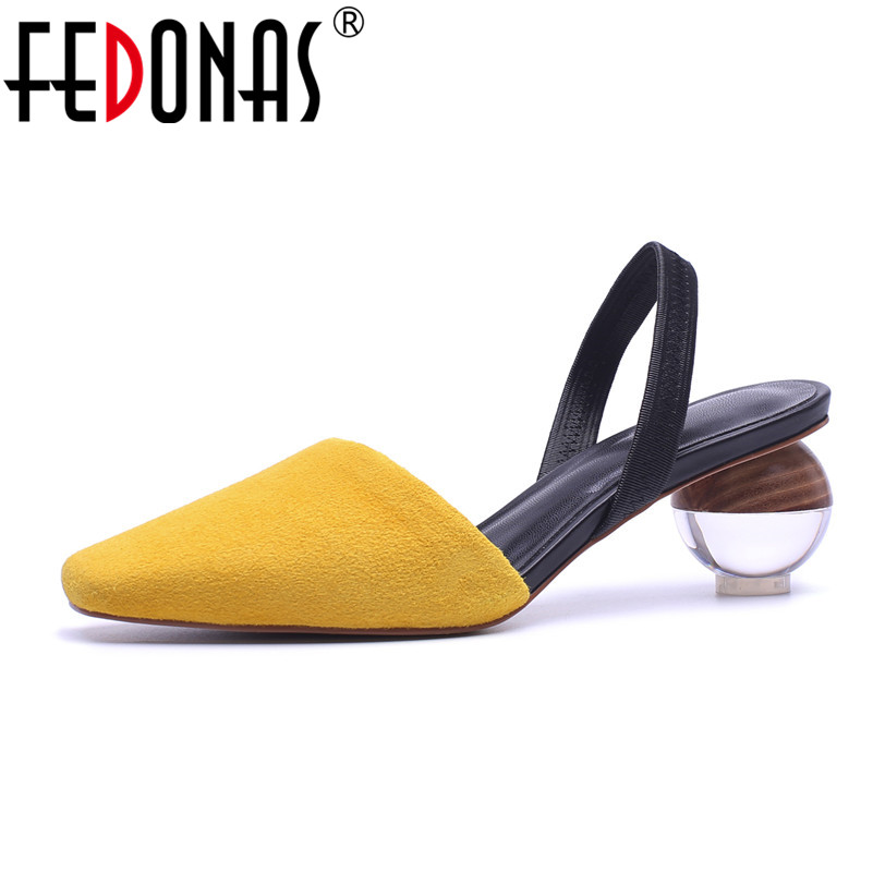FEDONAS 2020 Suede Crytal Heels Ankle Straps Fashion Women Sandals High Heels Summer Autumn Wedding Party
