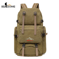 60L Large Camping Bag Traveling Backpack Canvas Army Military Bags Luggage Multi function Climbing Mochila Men Hiking Tas XA26D