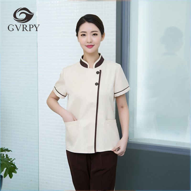New Arrival Hotel Cleaning Short Sleeve Workwear Uniform Wrapping Cleaning Room Attendants Men Women Housekeeping Waiter Jackets
