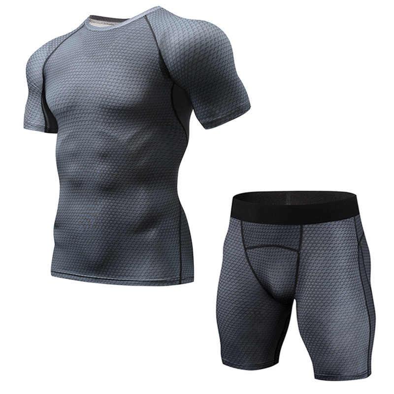 Nieuwe Crossfit Compressie Kleding Mannen 3D Joggers Sportswea Strakke T-shirts Bodybuilding Broek Mma Leggings Korte Outfit