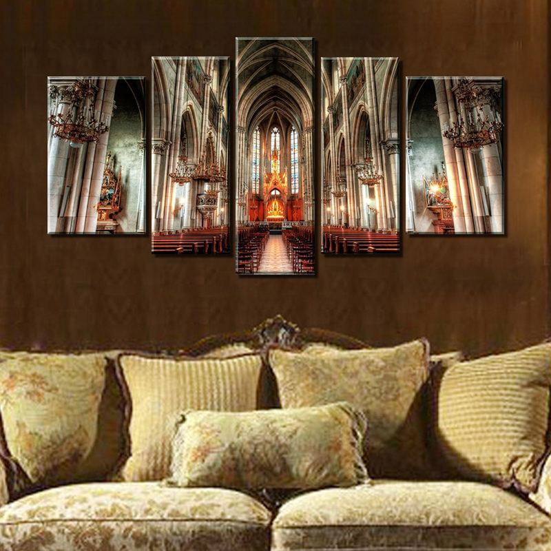 5 panel wall art painting prague st vitus cathedral gothic for Decor st