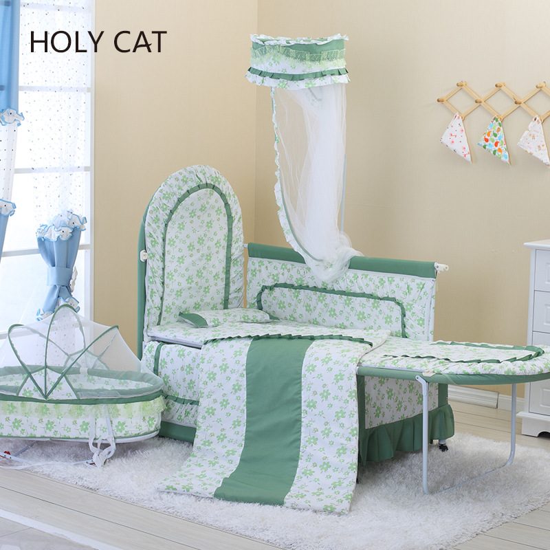 HOLYCAT Cradle Mode European Luxury Cloth Crib Multi-function Adjustable Game Bed Complimentary Bedding 4pcs Gifts