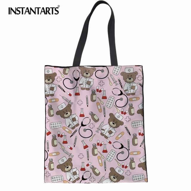 INSTANTARTS Eco-Friendly Canvas Shopping Bag Nurse Bear Printing Travel Large Tote Bag Supermarket Grocery Bag Linen Handbags