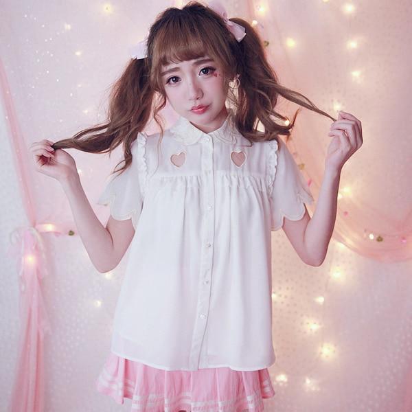 أميرة الحلو لوليتا قميص BOBON21 رائعتين وجذابة سوبر جيدة الحب التطريز البتلة طوق القميص T1362 موجة-في بلوزات وقمصان من ملابس نسائية على  مجموعة 1