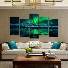 Modern Canvas Print Wall Art 5 Panels Canvas Print Oil Painting Blue Green Modern Aurora Borealis Iceland Jokulsarlon Poster