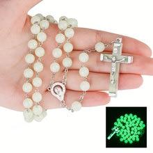 8 мм христианские католические четки ювелирные изделия светящиеся четки крест ожерелье