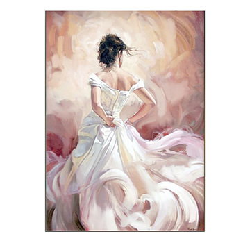 Handmade Flamenco Dancers Modern Sexy Back Character Wall Painting Impression Oil Painting On Canvas Home Decor White Dress