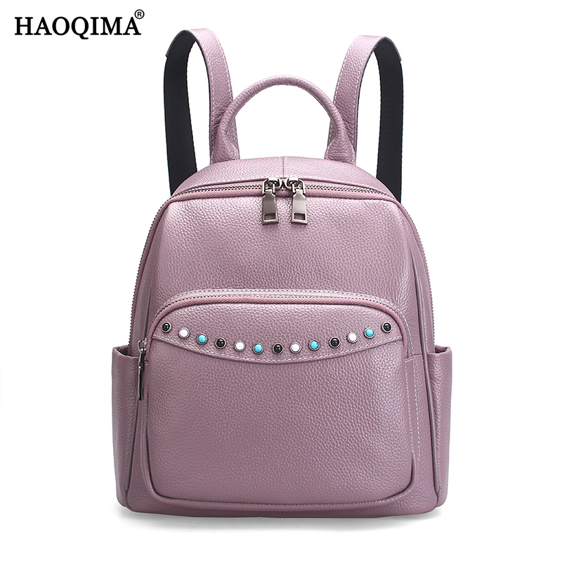 HAOQIMA Genuine Leather Real Cowhide Women Backpack Shoulder Bag