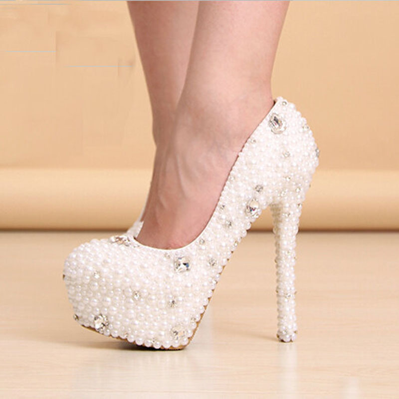 2017 New Arrival Women Pearl White Wedding Pumps Womens High Heel Platform Shoes Heels Crystal Bridal In From On
