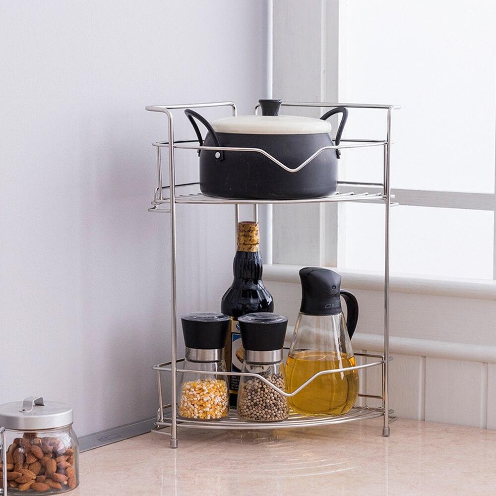 Acier inoxydable double couche étagère cuisine assaisonnement stockage rack salle de bain coin stockage rack wx10241030