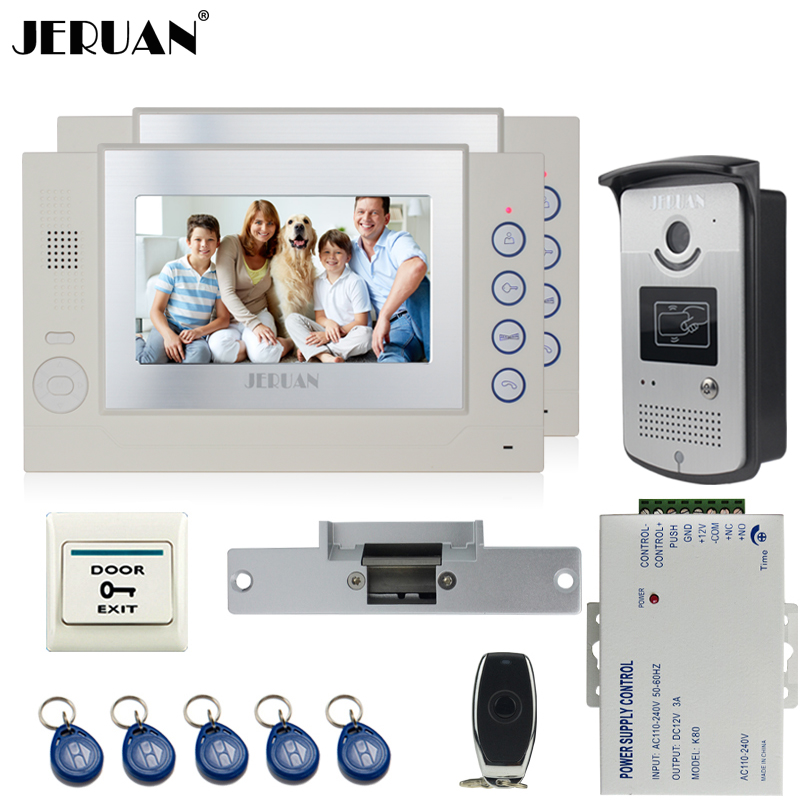 JERUAN Wired 7 inch video door phone Record intercom system kit 2 monitor 700TVL RFID Access IR Night Vision Camera Cathode lock 3v3 7 inch monitor water proof ip66 wired intercom video door phone