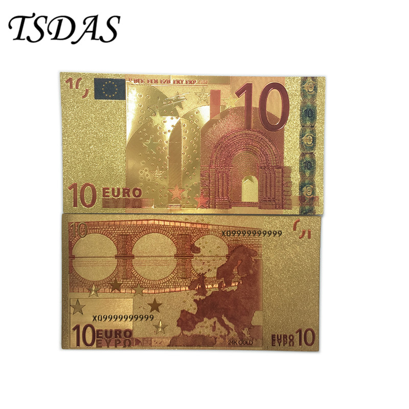 10pcs/set 10 Euro Gold Banknotes Gold Foil Plated Bank Note In Colors Creative Gifts