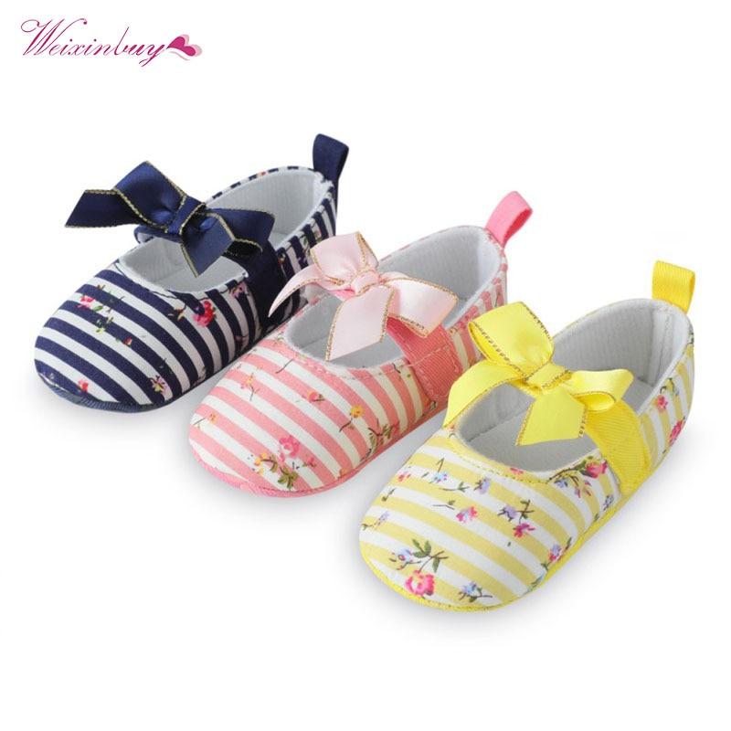 Newborn Baby Girls Bowknot Princess Pram Shoes Toddler Kids Soft Sole Prewalkers