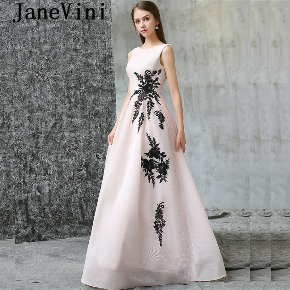 JaneVini Light Pink Long Bridesmaid Dresses for Weddings Girls Pageant Lace Appliques Backless Floor Length Robe Soiree Mariage